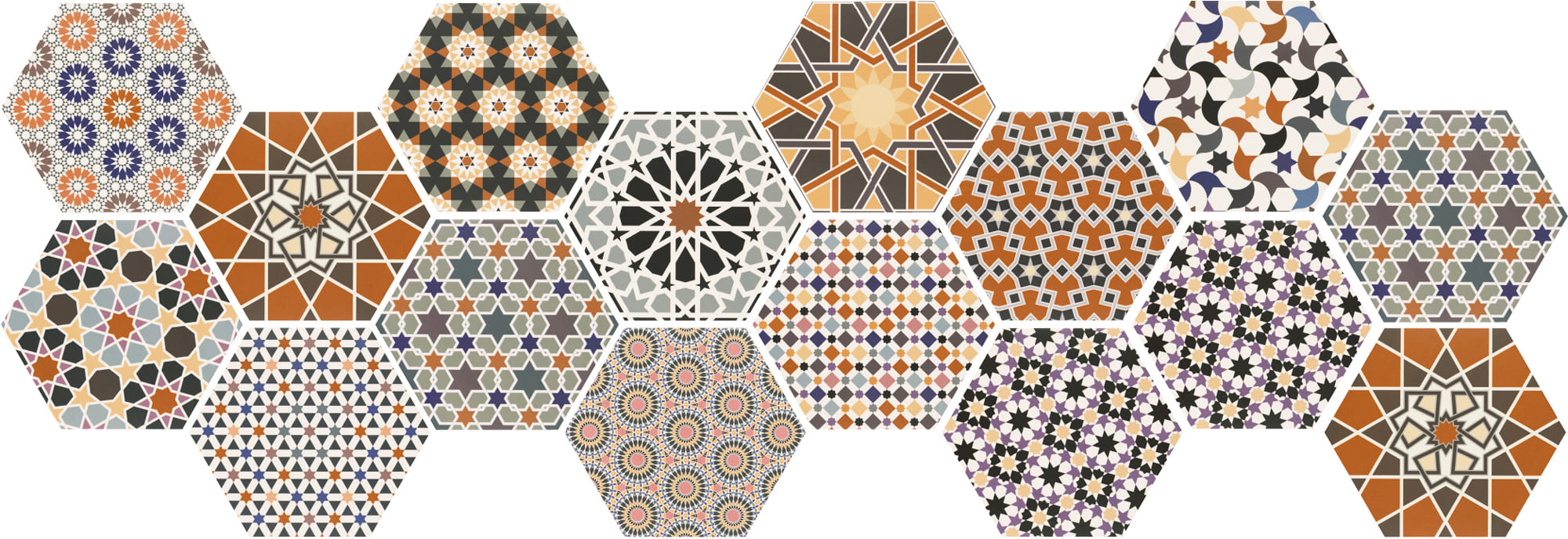 Multi-coloured bold hexagon décor tile 285x330mm Deco andalusi by Decobella tiles - South Africa 285x330mm shiny finish hexagon tile for use on floors or walls.