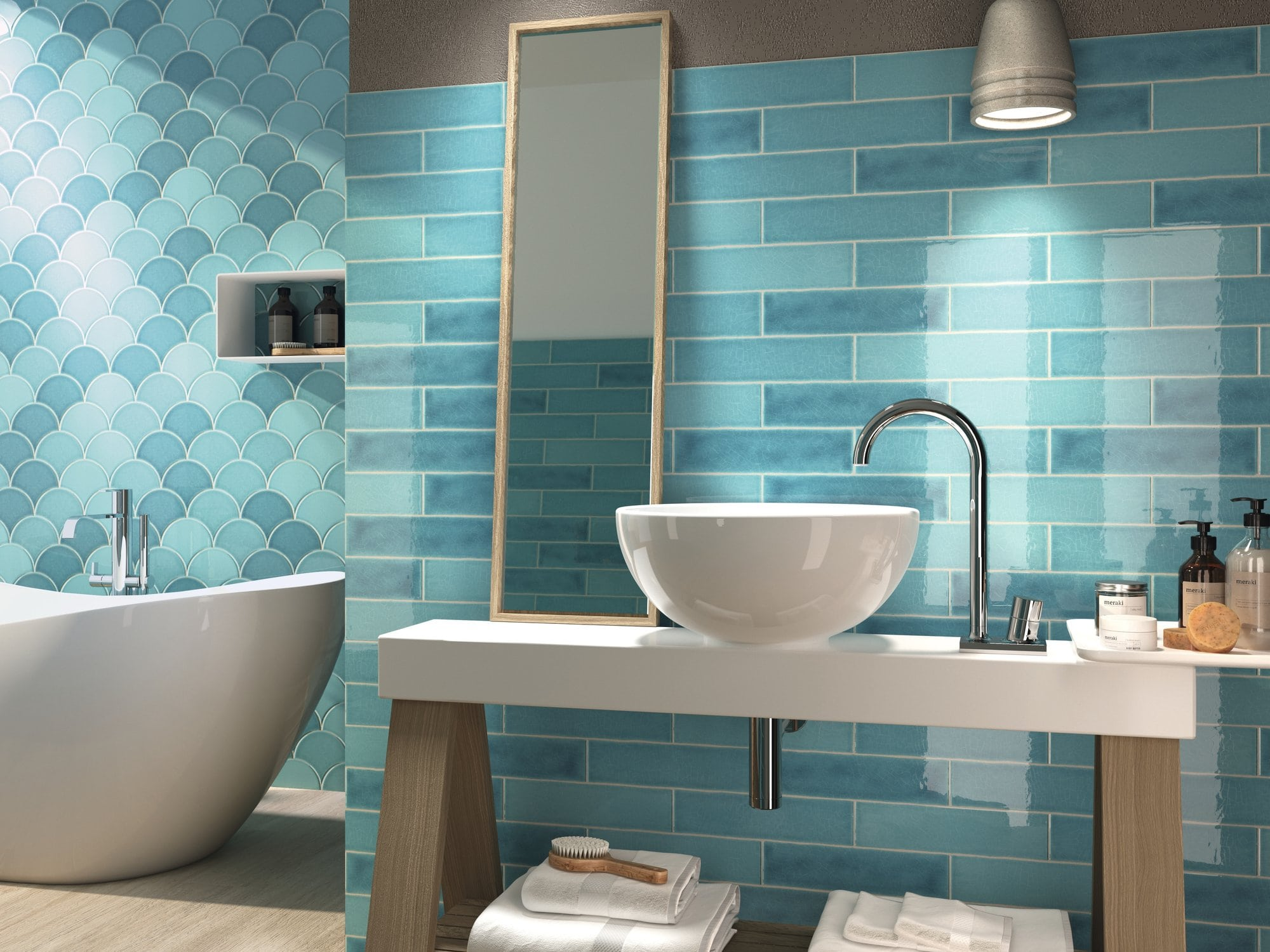 Glossy ceramic wall tile with non rectified edge and colour variation. Escamas Dynamic Blue by Decobella South Africa. Lovely in bathrooms and kitchens.