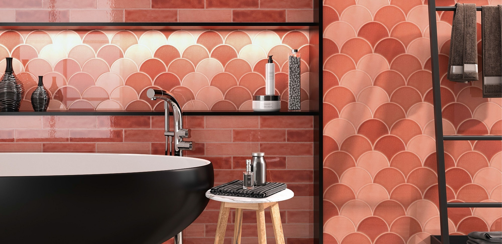 Red glossy ceramic wall tile with non rectified edge and colour variation. Escamas Dynamic Red by Decobella South Africa. Lovely in bathrooms and kitchens