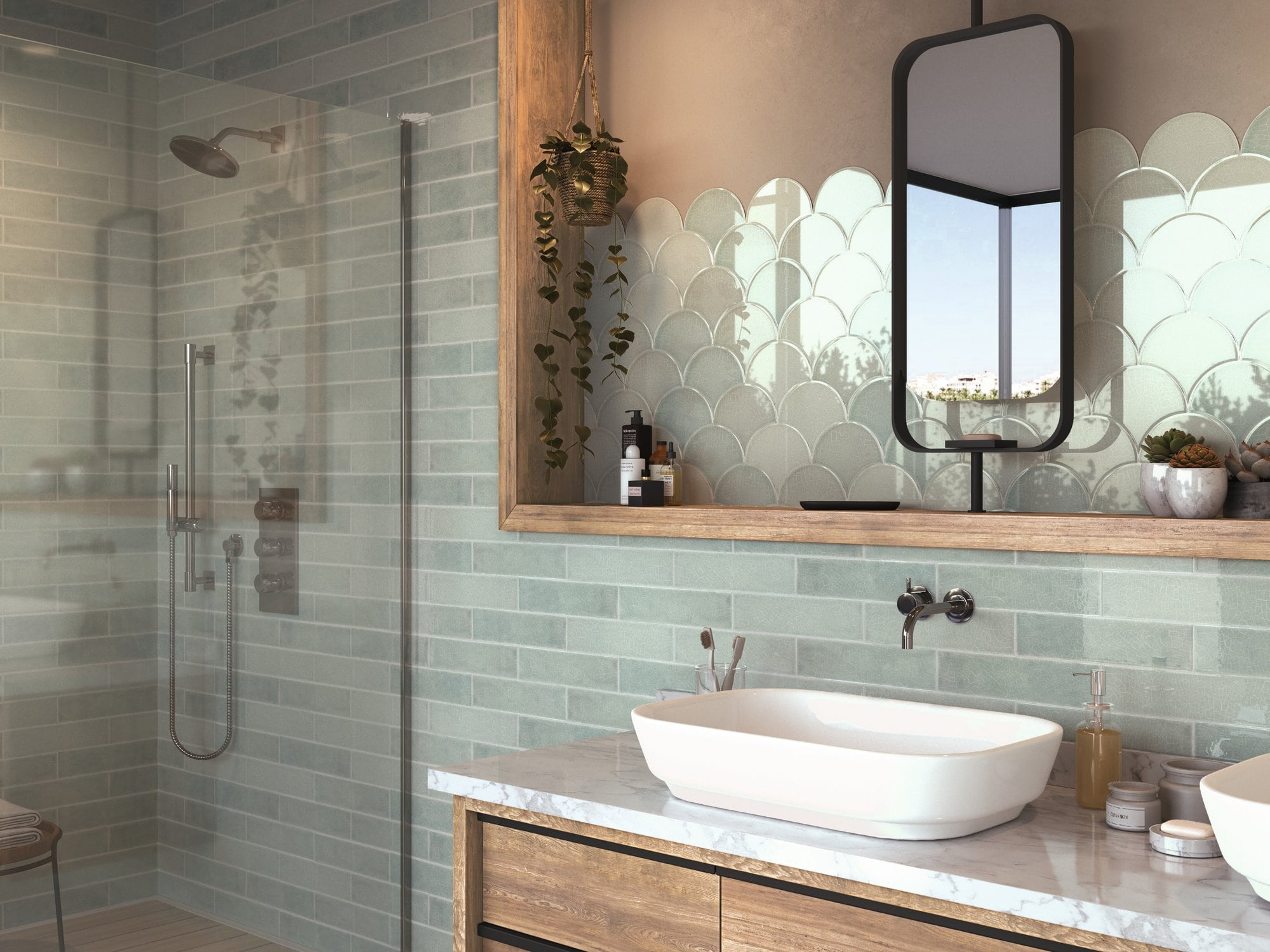 Glossy ceramic wall tile with non rectified edge and colour variation. Escamas Dynamic Green by Decobella South Africa. Lovely in bathrooms and kitchens.