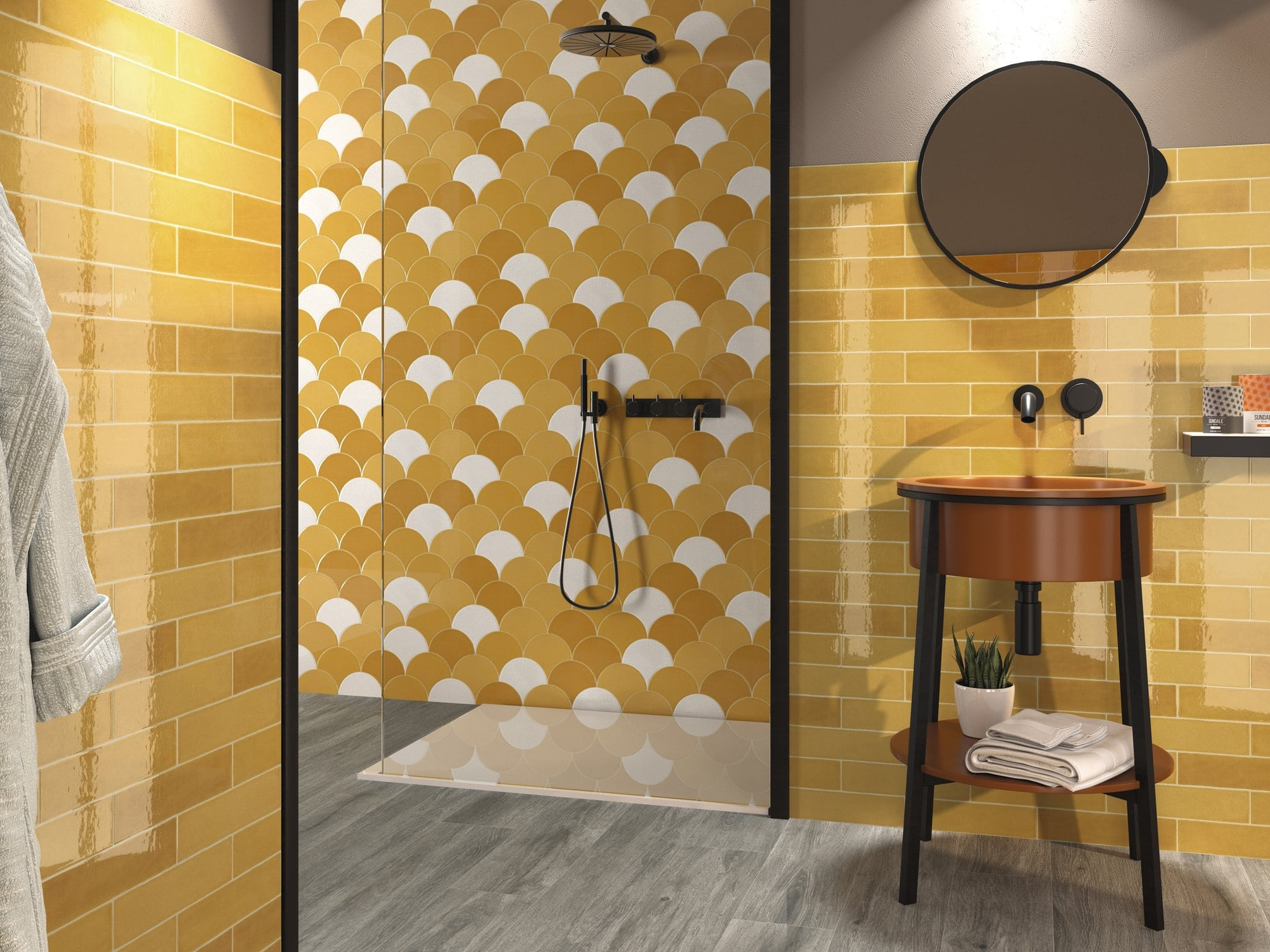 Yellow glossy ceramic wall tile with non rectified edge and colour variation. Escamas Dynamic Yellow by Decobella South Africa. Lovely in bathrooms and kitchens