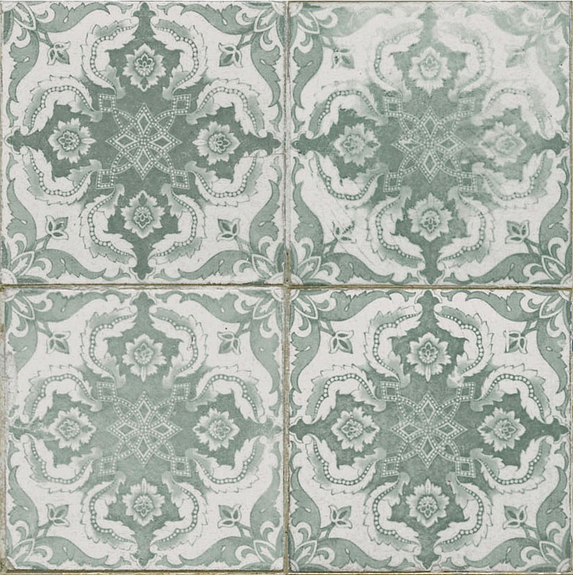 Vintage inspired Décor tile  soft aqua   sage or mint green floral pattern 450x450mm Deco FS-3 by Decobella Tiles - South Africa  Suitable for Wall & Floor and up to 8 faces to create a authentic vintage feel. Ideal for focal points in kitchens, bathrooms or full floor applications.