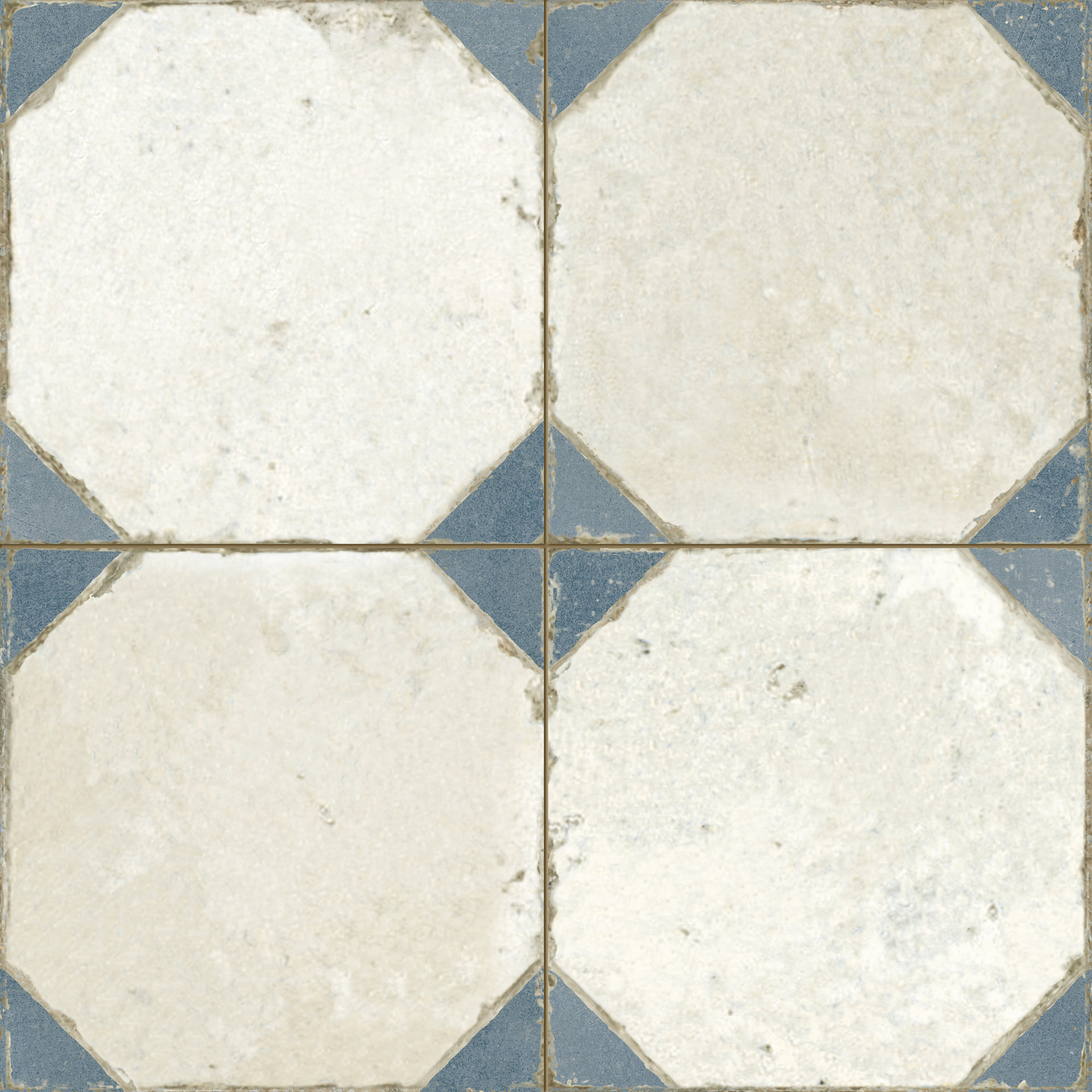 Vintage ceramic tile with geometrical pattern. Deco FS Yard Blue by Decobella South Africa. Perfect for wall and floor applications.