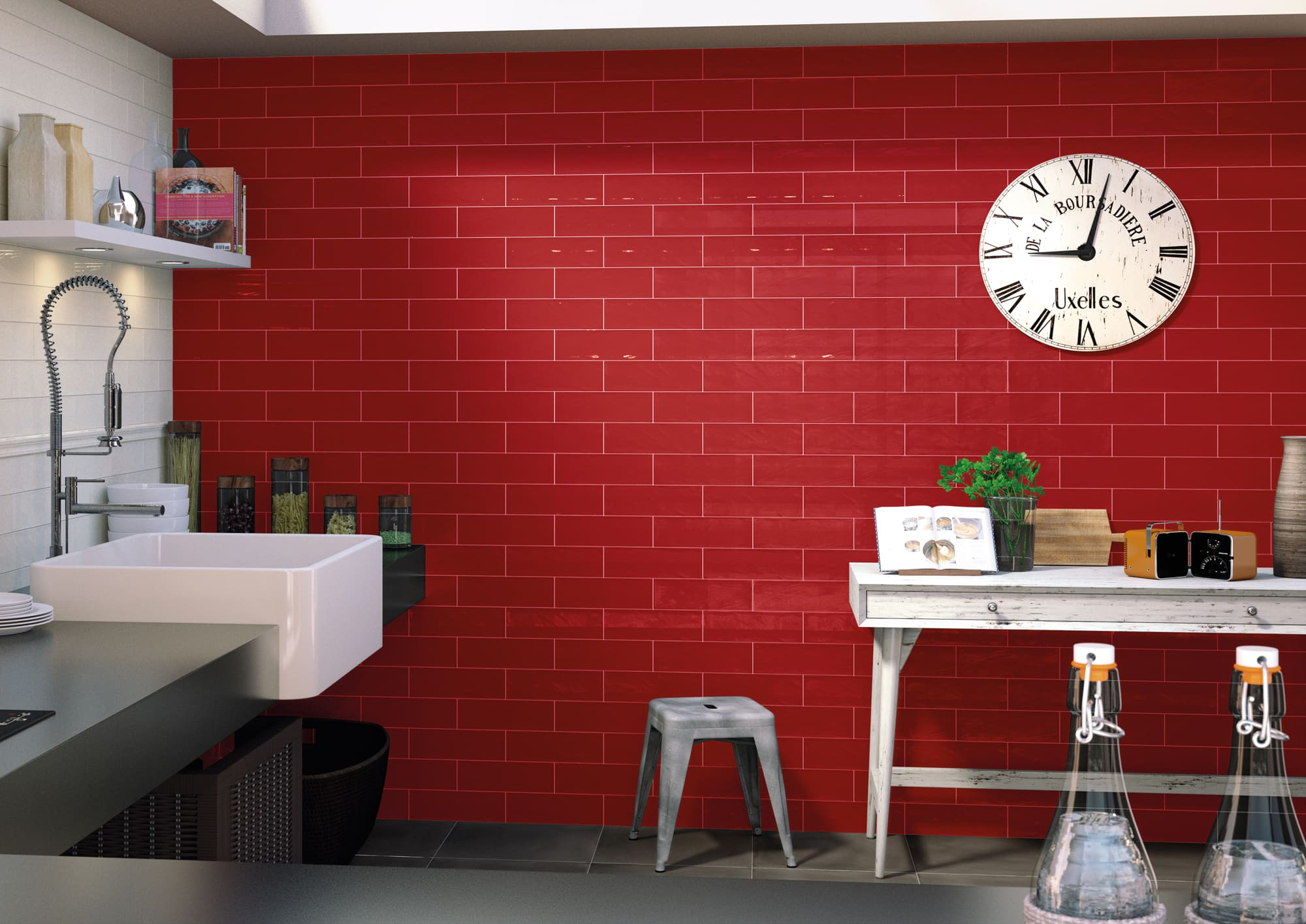 Lifestyle image of the Royal Rojo and Bulevar White 10x30,5cm tiles.