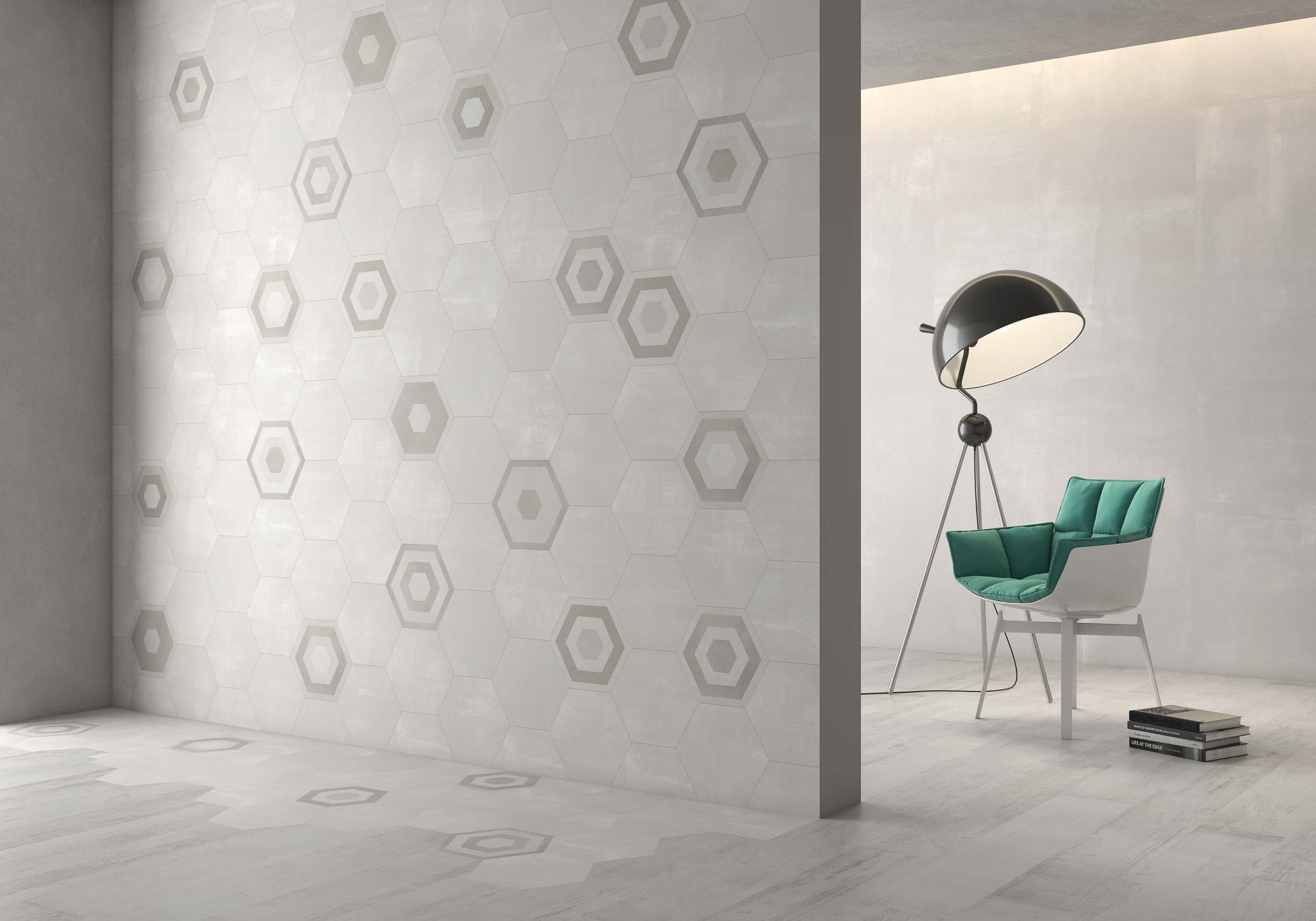 light beige hexagon décor tile Deco Stark dessert  by Decobella tiles - South africa cement finish to create various tones. Ideal for floor or wall application 250mm290mm