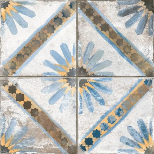 Décor pattern tile - vintage inspired - morrocon look Blue |white 450x450mm Deco FS Marrakesh Blue by Decobella tiles - south Africa suitable for Wall & Floor and up to 6 faces to create a authentic vintage pattern or focal feature in any kitchen, bathroom or full floor installation.