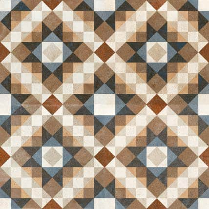 Décor pattern tile - vintage inspired - multi colour blue |brown| yellow|cream 450x450mm Deco FS Chester  by Decobella tiles - south Africa suitable for Wall & Floor and up to 8 faces to create a authentic vintage complex pattern. Great for full floor application.