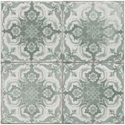 Grey vintage-inspired floral pattern tile FS-3 by Decobella South Africa 450x450mm pre-corte 220x220mm