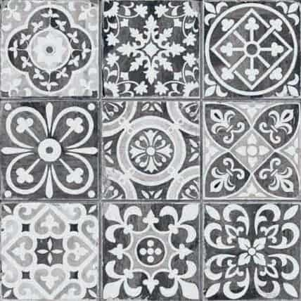 Black and white Pattern décor tile - morrocon look 330x330mm Fs Faenza black by Decobella Tiles - South Africa  330x330mm tile which emulates a 100x100mm pattern mosaic. Practical and ideal for bathrooms, kitchen or any tiling application.  Up to 3 faces to enchance the worn-look vintage feel.