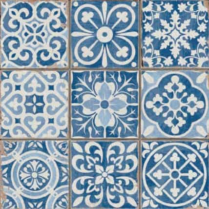 Blue and white Pattern décor tile - morrocon look 330x330mm Deco Fs Faenza Blue by Decobella Tiles - South Africa  330x330mm tile which emulates a 100x100mm pattern mosaic. Practical and ideal for bathrooms, kitchen or any tiling application.  Up to 3 faces to enchance the worn-look vintage feel.