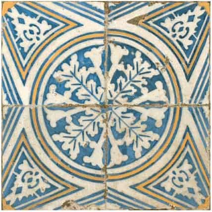 Vintage inspired  décor pattern tile - blue , cream and mustard|yelllow 450x450mm Deco FS-1 by Decobella Tiles - South Africa Suitable for Wall & Floor and up to 10  faces to create a authentic vintage feel when renovating your house.