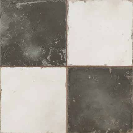 Vintage inspired checkerboard Décor tile   black|dark grey and cream 450x450mm Deco Fs Damero by Decobella Tiles - South Africa  Suitable for Wall & Floor and up to 5 faces to create a authentic vintage checkerboard look. The ideal tile selection for modern farmhouse or tradional | heritage effect.
