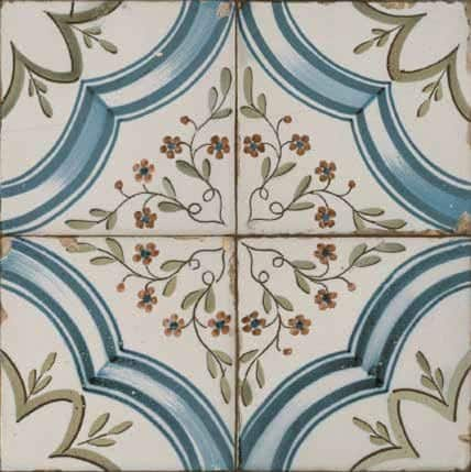 Vintage inspired Décor tile  Floral pattern Cream | blues and yellows 450x450mm Deco FS Nijar by Decobella Tiles - South Africa  Suitable for Wall & Floor and up to 6  faces to create a authentic vintage feel when renovating your house.