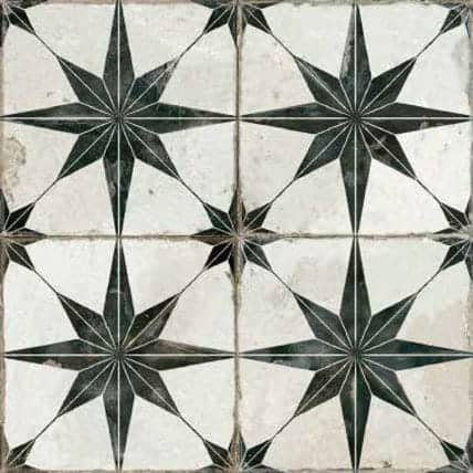 Vintage inspired Décor tile Star pattern charcoal| black and beige|beige 450x450mm Deco Fs Star N by Decobella tiles - South Africa Suitable for Wall & Floor and up to 9  faces to create a authentic vintage pattern or focal feature in any kitchen, bathroom or full floor installation.