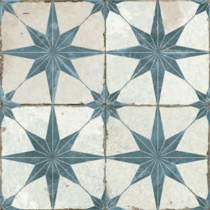 Vintage inspired Décor tile  Star pattern aqua|lightblue and white|offwhite 450x450mm Deco Fs Star blue by Decobella tiles - South Africa Suitable for Wall & Floor and up to 9  faces to create a authentic vintage pattern or focal feature in any kitchen, bathroom or full floor installation.