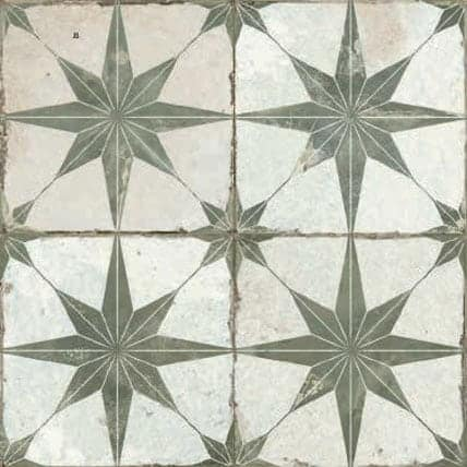 Vintage inspired Décor tile  Star pattern sage| green and white|offwhite 450x450mm Deco Fs Star sage by Decobella tiles - South Africa Suitable for Wall & Floor and up to 9  faces to create a authentic vintage pattern or focal feature in any kitchen, bathroom or full floor installation.