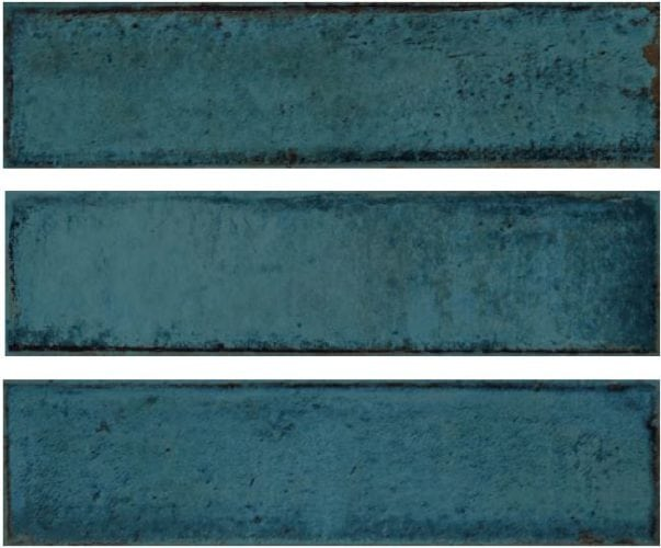 Metro blue subway tile 75x300mm Alchemia Blue by Decobella Tiles - South Africa with up to 15 faces, this tile represents an authentic handpainted tile. Ideal for kitchen splash-backs, full wall features in bathrooms or living room areas.