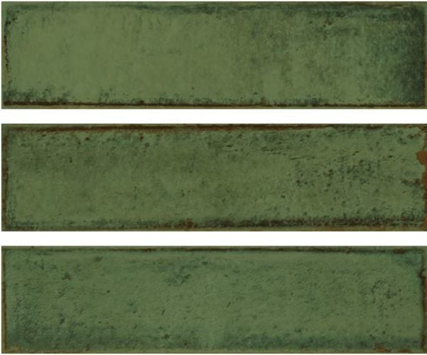 Metro green subway tile 75x300mm Alchemia olive by Decobella Tiles - South Africa with up to 15 faces, this tile represents an authentic handpainted tile. Ideal for kitchen splash-backs, full wall features in bathrooms or living room areas.