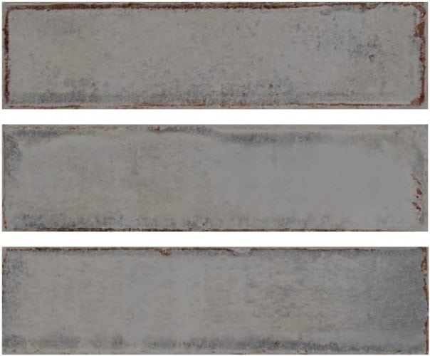 Metro grey subway tile 75x300mm Alchemia pearl by Decobella Tiles - South Africa with up to 15 faces, this tile represents an authentic handpainted tile. Ideal for kitchen splash-backs, full wall features in bathrooms or living room areas.