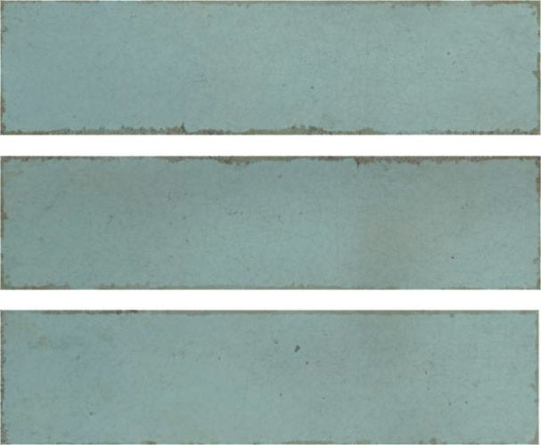 Metro aqua |lightblue subway tile 75x300mm soul aqua by Decobella Tiles - South Africa with up to 15 faces, this tile represents an authentic handpainted tile with a crackle effect. Ideal for kitchen splash-backs, full wall features in bathrooms or living room areas.
