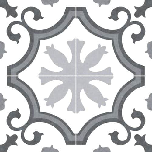 Pattern Décortile  grey |black |white 250x250mm Deco Kleio lacour grey by Decobella tiles - South Africa  4 tiles make this unique  pattern which equates to 500x500mm when placed together. Ideal for tiling renovation  in your kitchen, bathroom or livingroom area. imported from Spain