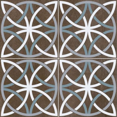 modern pattern décor tile 450x450mm Deco Bosham black by Decobella tiles - South Africa circular pattern that creates a chic look. Ideal for modern renovations on any floor application.