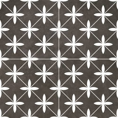 modern pattern décor tile 450x450mm Deco Poole black by Decobella tiles - South Africa cross pattern that creates a chic look. A Great choice for creating a focal point or full floor renovation,