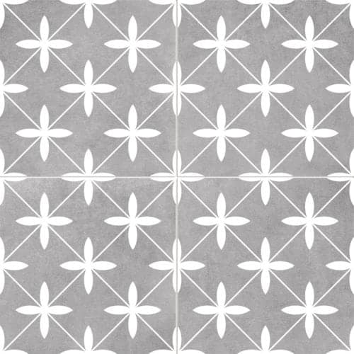 modern pattern décor tile 450x450mm Deco Poole grey by Decobella tiles - South Africa cross pattern that creates a chic look. A Great choice for creating a focal point or full floor renovation,