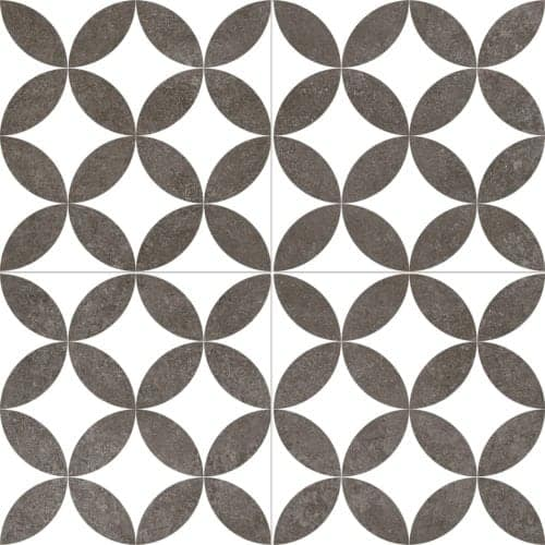 modern pattern décor tile 450x450mm Deco roy by Decobella tiles - South Africa circular or daimond design that creates a classy feel. A Great choice for creating a focal point or full floor renovation,
