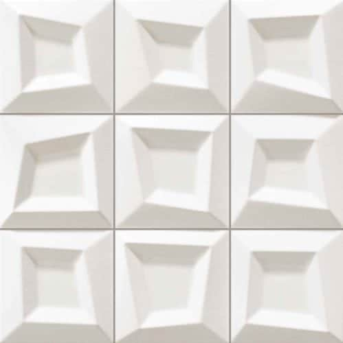 Moden white 3-d décortile 330x330mm Deco Frame white by Decobella tiles - South Africa  330x330mm wall tile - ideal for modern renovations as a full wall feature in any area. Imported from Spain and a multi dimensional thickness  to enhance any focal point.