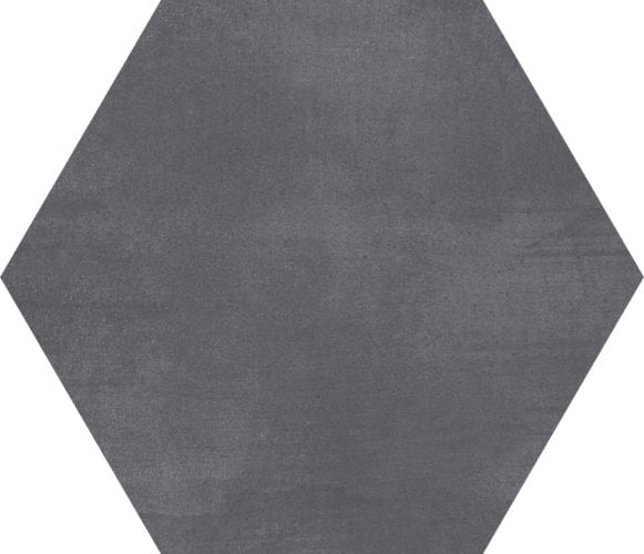 charcoal | black hexagon décor tile Deco Stark mica  by Decobella tiles - South africa cement finish to create various tones. Ideal for floor or wall application 250mm290mm