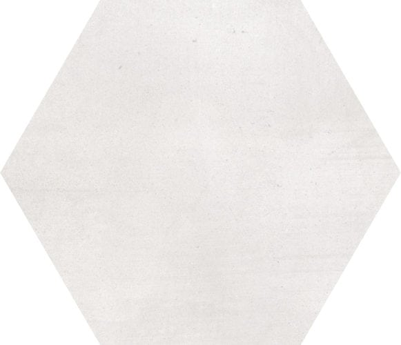 White hexagon décor tile Deco Stark Nacar by Decobella tiles - South africa cement finish to create various tones. Ideal for floor or wall application 250mm290mm