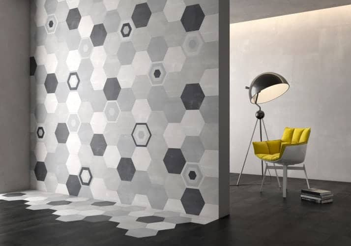 grey and black pattern hexagon décor tile Deco Stark décor Gris  by Decobella tiles - South africa cement finish to create various tones. Ideal for floor or wall application 250mm290mm
