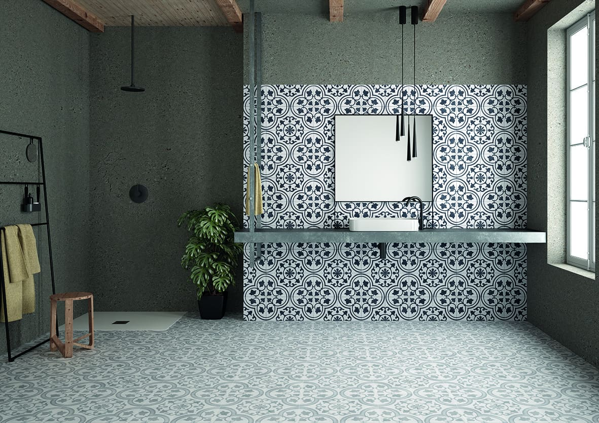 Floral white and black porcelain pattern tile 223x223mm Deco Cuban Ornate by Decobella tiles - South Africa pattern tile with a great anti-slip rating. Ideal for bathroom floors or any wet areas. Suitable for wall application as well.