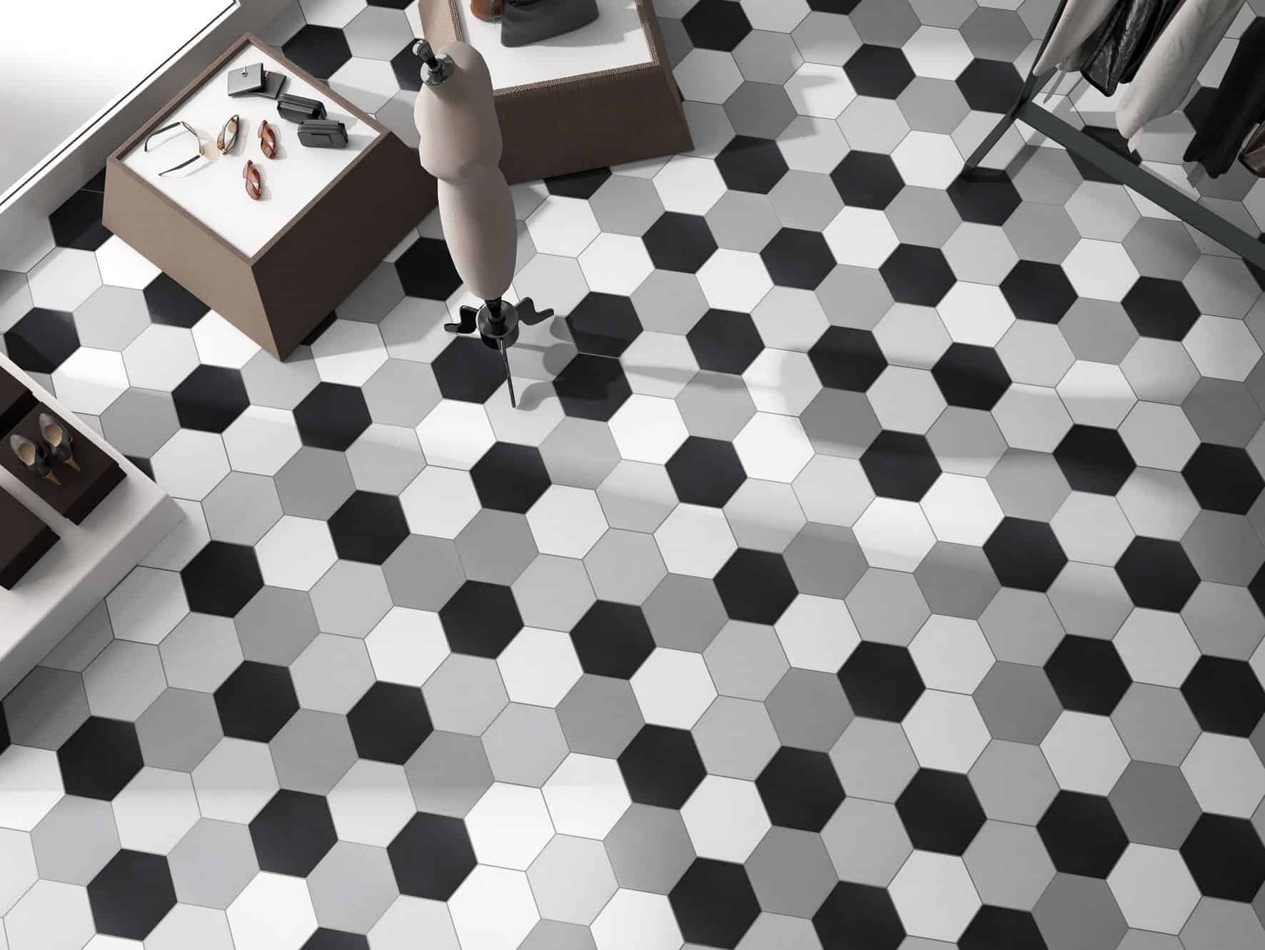 black Hexagon tile 220x250mm Deco basic black by Decobella tiles - South Africa Ideal for features in a bathroom or kitchen and suitable for wall or floor application.  250x220mm