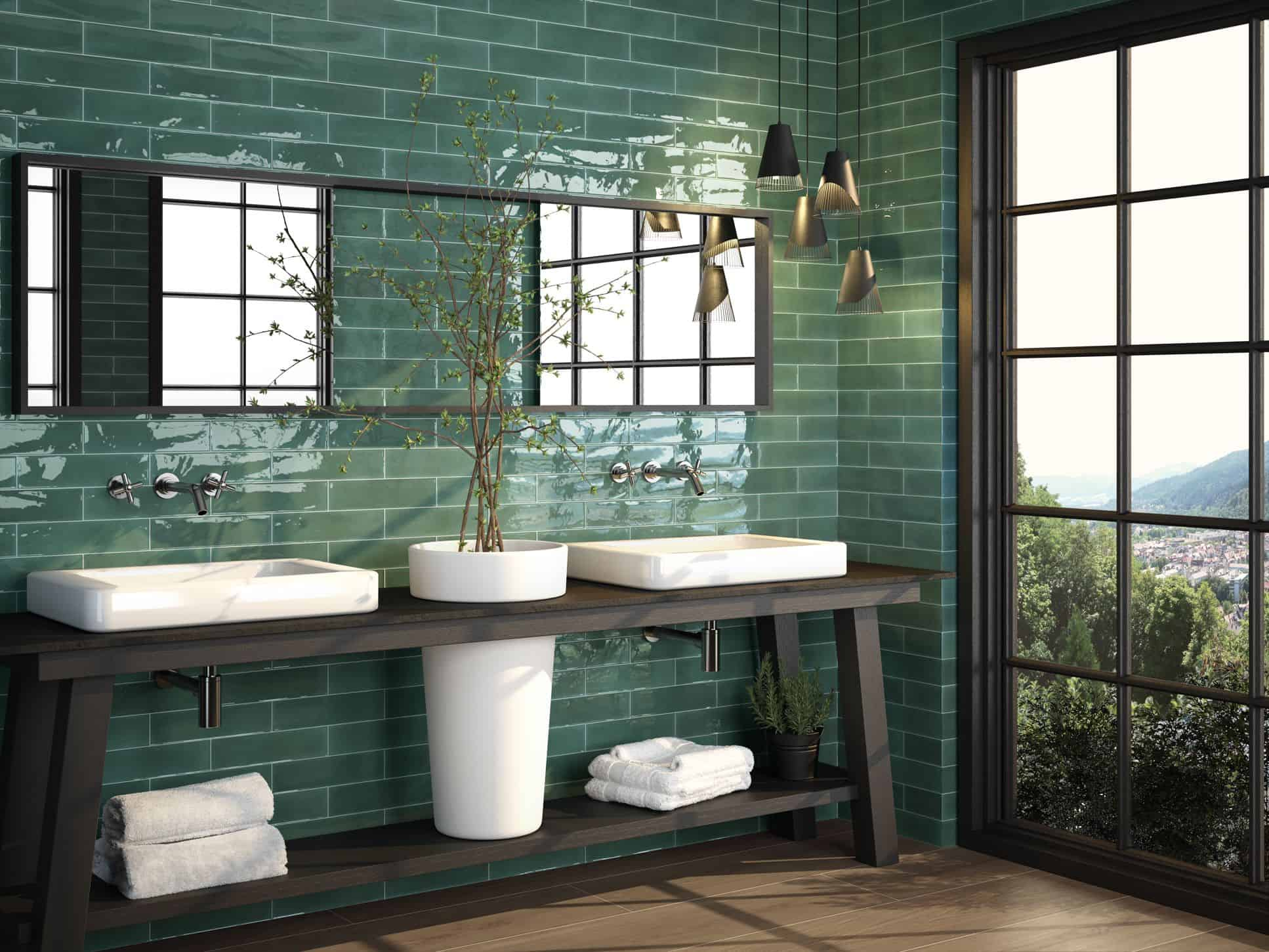 Metro green Opal subway tile 75x300mm Opal green by Decobella Tiles - South Africa irregular edge to represent a handmade look tile. Ideal for splash-backs, wall features or focal points.