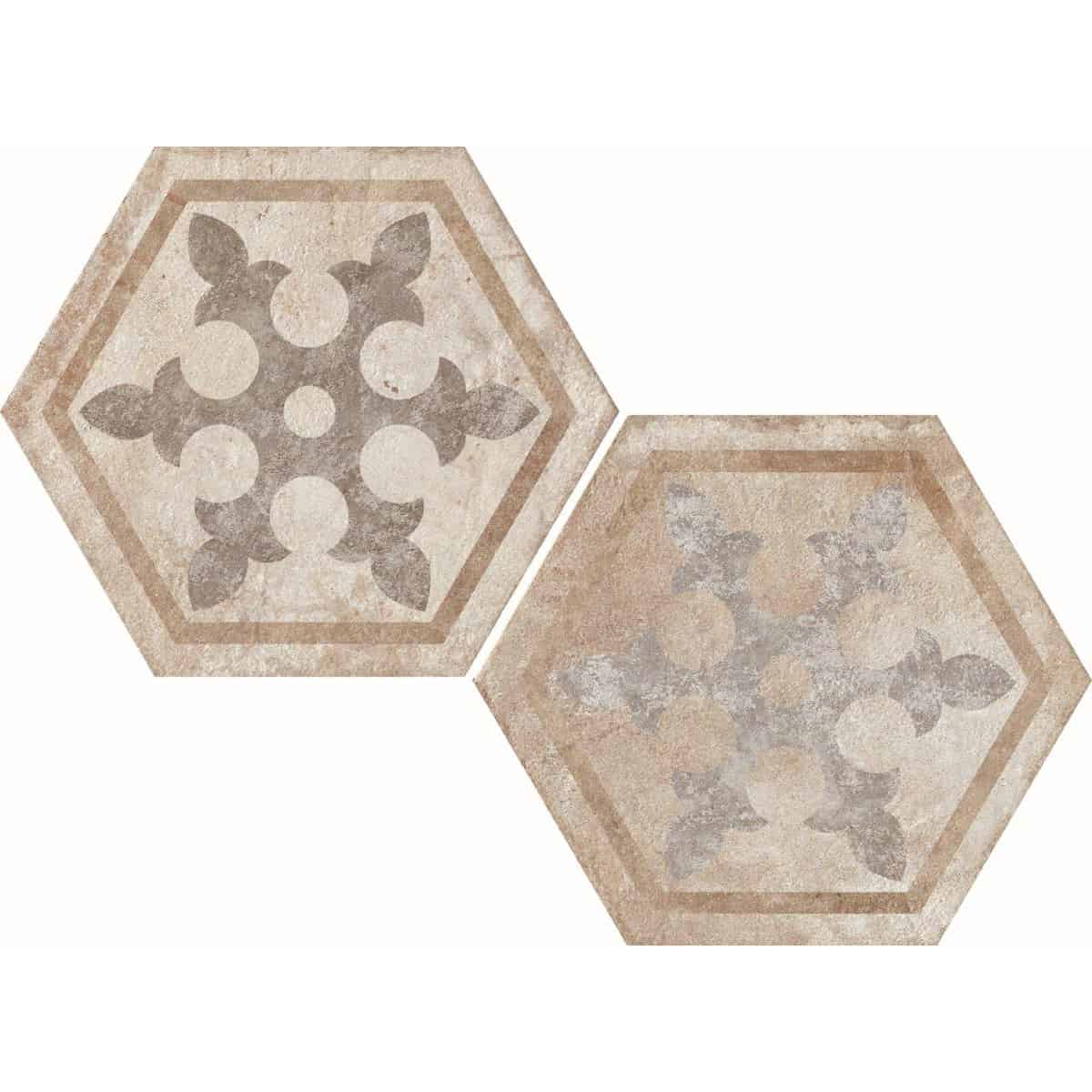 large format pattern hexagon tile 345x400mm Deco Heritage texture 1 by Decobella tiles - South Africa Big format porcelain tiles from Italy and with up to 100 shades, this tile is ideal when considering a pattern hex tile with an authentic feel. Enjoy the quility of porcelain with the look of clay or cement.