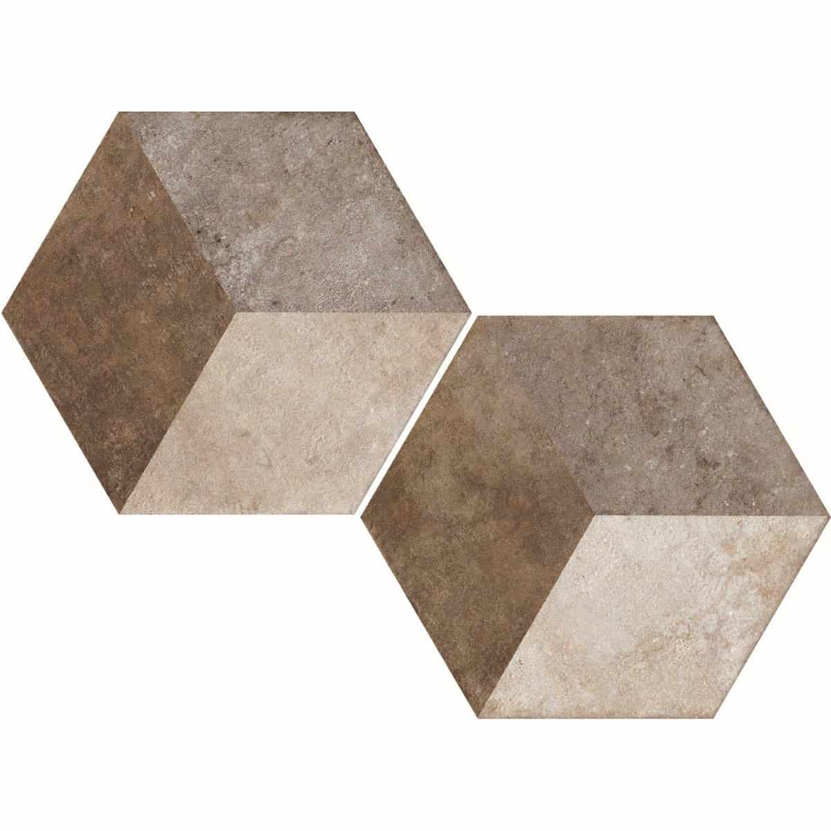 large format pattern hexagon tile 345x400mm Deco Heritage texture 2 by Decobella tiles - South Africa Big format porcelain tiles from Italy and with up to 100 shades, the geometric pattern creates a modern yet timeless focal point.Enjoy the quility of porcelain with great anti-slip properties but the look of clay or cement.