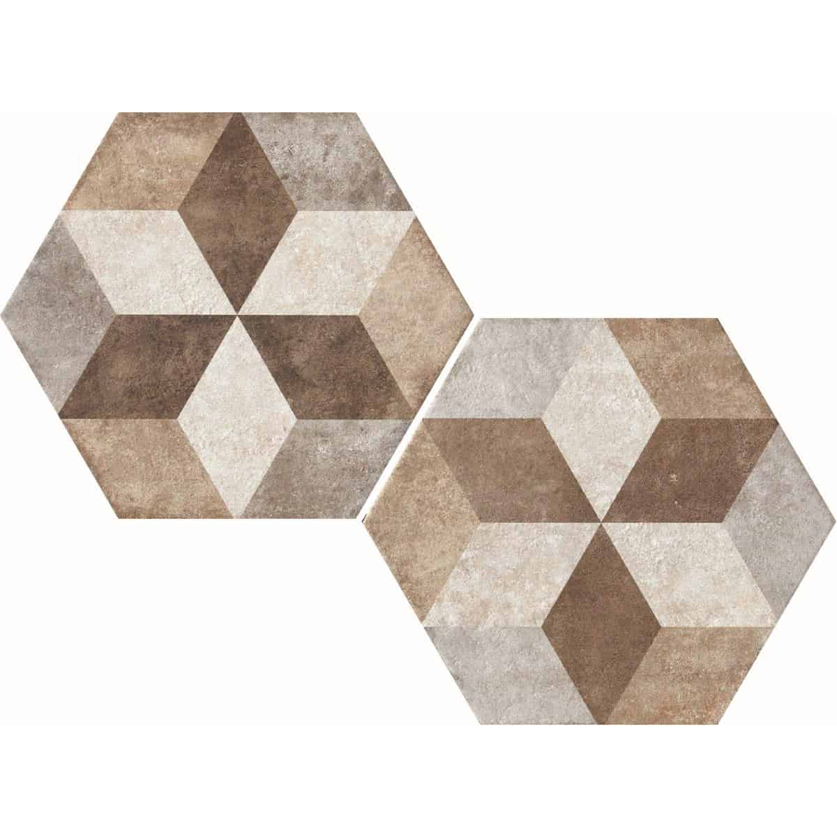 large format  pattern hexagon tile 345x400mm Deco Heritage texture 4 by Decobella tiles - South Africa Big format porcelain tiles from Italy and with up to 100 shades, this tile is ideal when considering a pattern hex tile with an authentic feel. Enjoy the quility of porcelain with great anti-slip properties but the look of clay or cement.