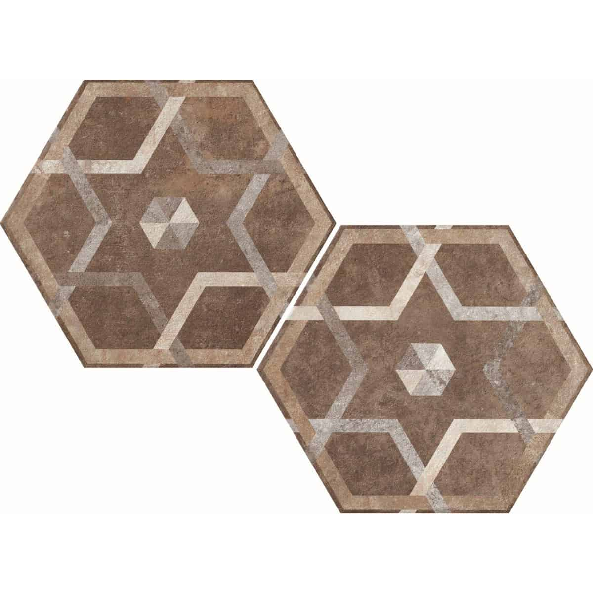 large format pattern hexagon tile 345x400mm Deco Heritage texture 5 by Decobella tiles - South Africa Big format porcelain tiles from Italy and with up to 100 shades, this tile is ideal when considering a pattern hex tile with an authentic feel.Enjoy the quility of porcelain with great anti-slip properties but the look of clay or cement.