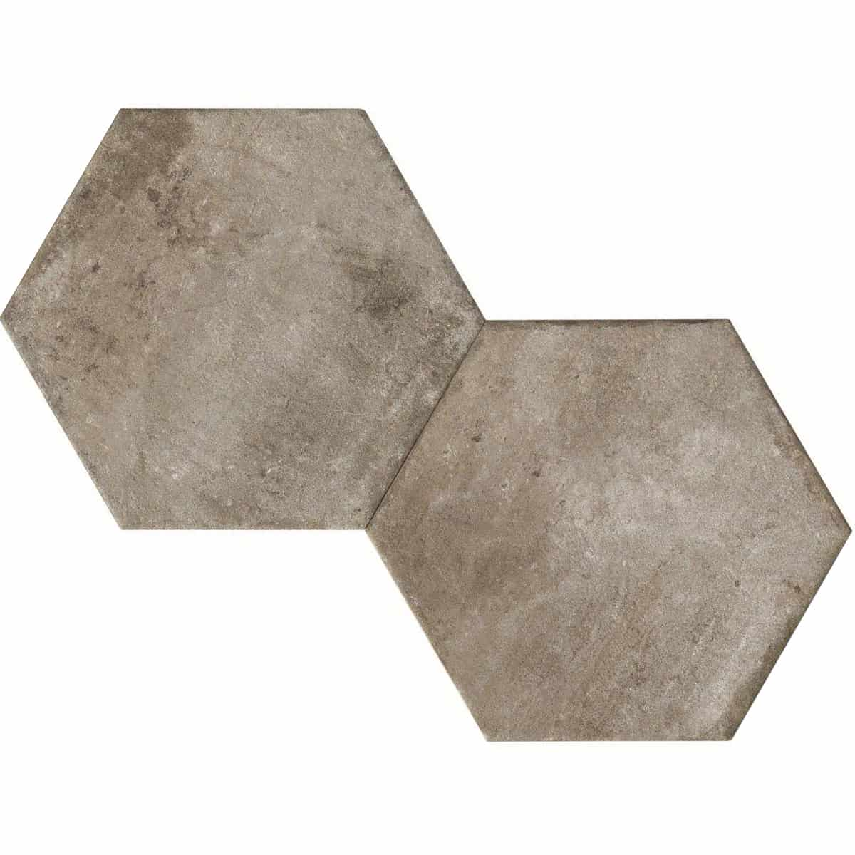 large format pattern hexagon tile 345x400mm Deco Heritage grey by Decobella tiles - South Africa Big format porcelain tiles from Italy and with up to 100 shades, this tile is ideal when considering a pattern hex tile with an authentic feel.Enjoy the quility of porcelain with great anti-slip properties but the look of clay or cement.