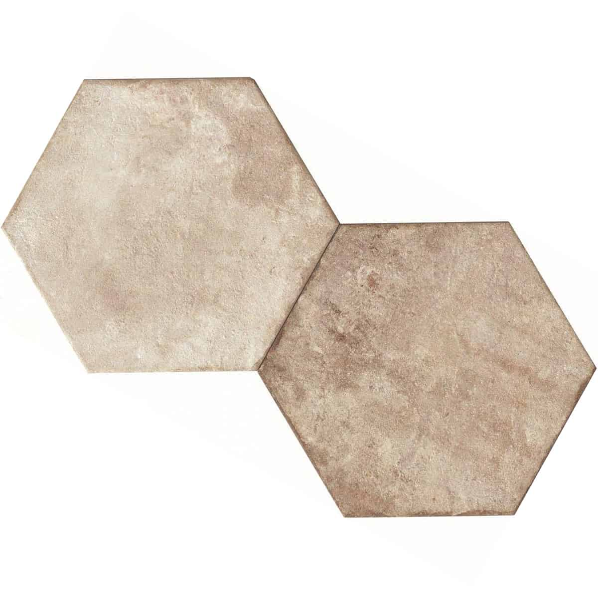 large format pattern hexagon tile 345x400mm Deco Heritage ivory by Decobella tiles - South Africa Big format porcelain tiles from Italy and with up to 100 shades, this tile is ideal when considering a pattern hex tile with an authentic feel.Enjoy the quility of porcelain with great anti-slip properties but the look of clay or cement.