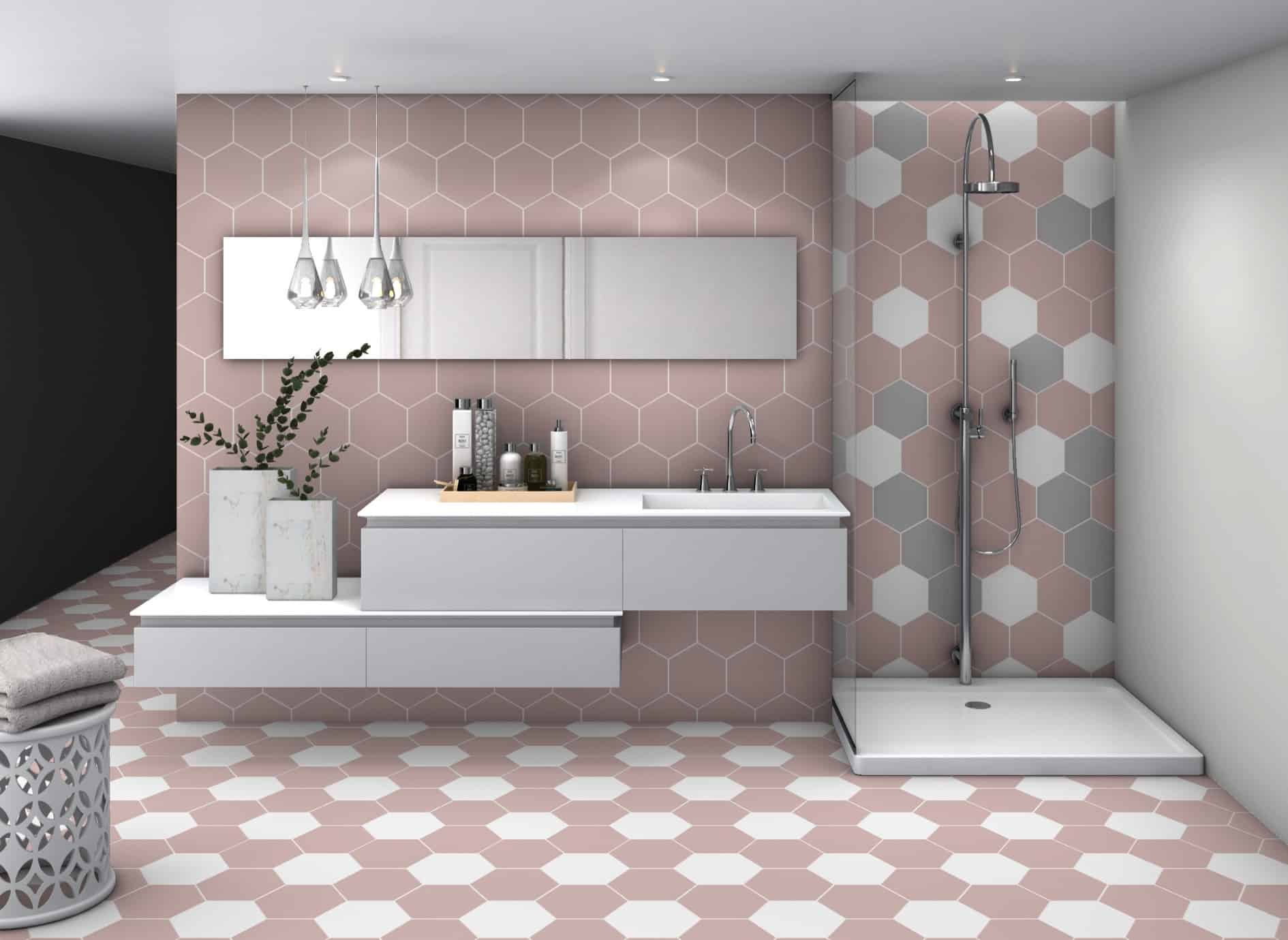 Pink | Rose  Hexagon tile Deco basic hex Rose by Decobella tiles - South Africa . Ideal for features in a bathroom or kitchen and suitable for wall or floor application.  250x220mm