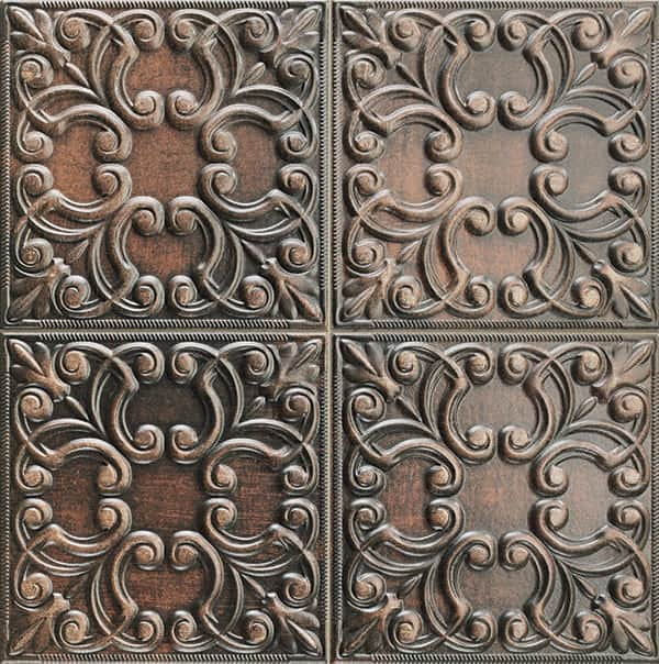 Deco Vintage Tin Tile Copper 440x440(mm) by Decobella South Africa. This floral engraved rustic décor wall tile integrates light & shadow to create live surfaces. Ideal for tiling renovation in your kitchen, bathroom or livingroom area. Imported from Spain.