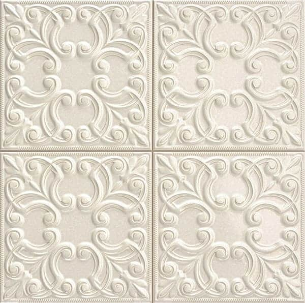 Deco Vintage Tin Tile Pearl 440x440(mm) by Decobella South Africa. This floral engraved rustic décor wall tile integrates light & shadow to create live surfaces. Ideal for tiling renovation in your kitchen, bathroom or livingroom area. Imported from Spain.