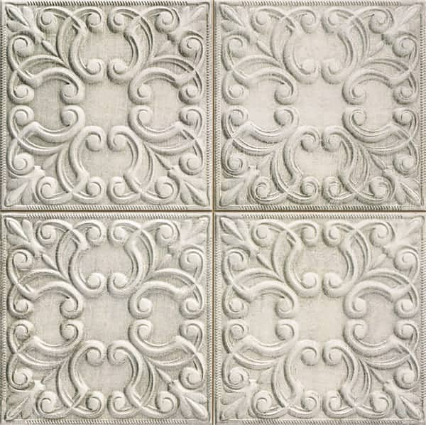 Deco Vintage Tin Tile Zinc 440x440(mm) by Decobella South Africa. This floral engraved rustic décor wall tile integrates light & shadow to create live surfaces. Ideal for tiling renovation in your kitchen, bathroom or livingroom area. Imported from Spain.